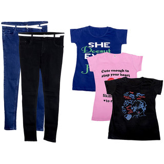 Indistar Women 2 Regular Fit Denim Jeans along with belt (size-28) and 3 Cotton Printed T-Shirt (Set of -5)
