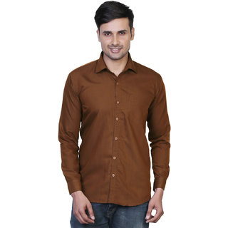Variksh Brown Color Cotton Casual Slim fit Shirt for men's