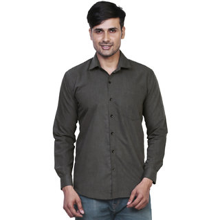 Variksh Dark Grey Color Cotton Casual Slim fit Shirt for men's