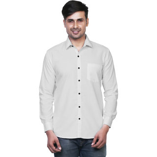 Variksh White Color Cotton Casual Slim fit Shirt for men's