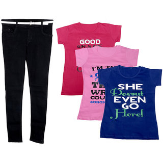 Indistar Women 1 Regular Fit Denim Jeans along with belt (size-28) and 3 Cotton Printed T-Shirt (Set of -4)