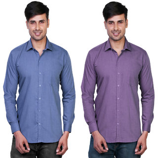 Variksh Blue and Purple Color Cotton Casual Slim fit Shirt for men's (Pack Of 2)