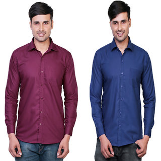 Variksh Maroon and Dark Blue Color Cotton Casual Slim fit Shirt for men's (Pack Of 2)