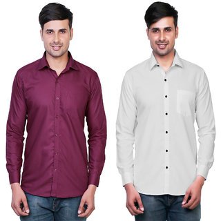 Variksh Maroon and White Color Cotton Casual Slim fit Shirt for men's (Pack Of 2)