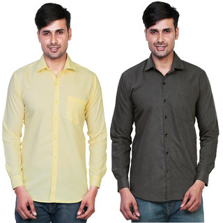 Variksh Yellow and Dark Grey Color Cotton Casual Slim fit Shirt for men's (Pack Of 2)