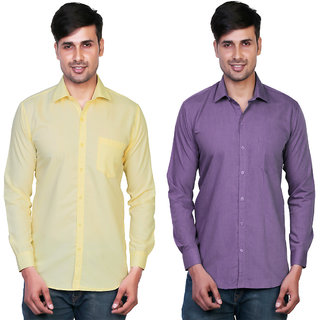 Variksh Yellow and Purple Color Cotton Casual Slim fit Shirt for men's (Pack Of 2)
