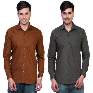 Variksh Brown and Dark Grey Color Cotton Casual Slim fit Shirt for men's (Pack Of 2)