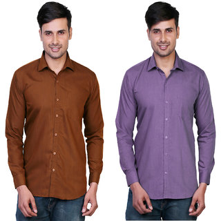 Variksh Brown and Purple Color Cotton Casual Slim fit Shirt for men's (Pack Of 2)
