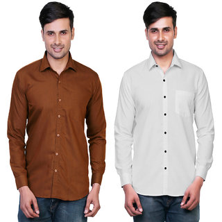 Variksh Brown and White Color Cotton Casual Slim fit Shirt for men's (Pack Of 2)