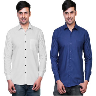 Variksh White and Dark Blue Color Cotton Casual Slim fit Shirt for men's (Pack Of 2)