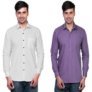 Variksh White and Purple Color Cotton Casual Slim fit Shirt for men's (Pack Of 2)