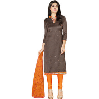 Sareemall Brown Modal Silk Printed With Lace Border Solid Dress Material