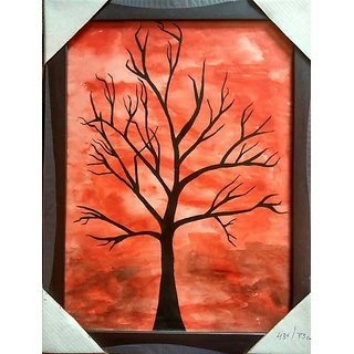Red Painting Black Tree