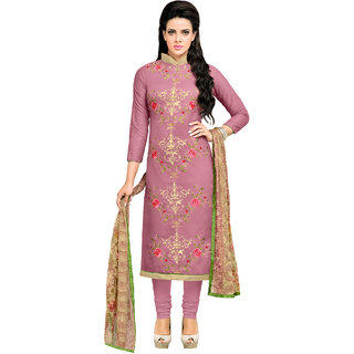Sareemall Mauve  Chanderi Cotton Embroidered Embellished Dress Material