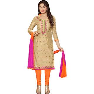 Sareemall Beige Chanderi Embroidered  Dress Material