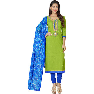 Sareemall Green Handloom Cotton Embroidered  Dress Material