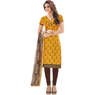 Sareemall Yellow  Cream Cotton Print  Chanderi Work Embroidered With Chanderi Print  Dress Material