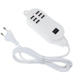 6 Ports 30W USB Desktop Line Power Adapter Wall Battery Charger