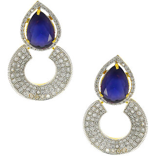Anuradha Art Blue Colour Styled With American Diamond Stone Earrings For Women/Girls