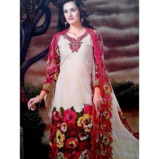 Cream printed cotton Cambridge salwar suit