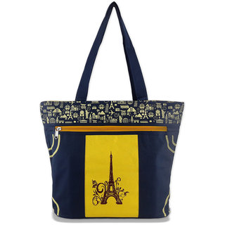 Diyaras Heavy Matty Yellow and Navy Blue Women's Shoulder or Shopping Bag.
