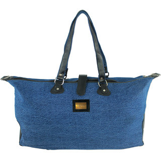 DIYARAS Dual Blue Denim and leather water resistant convertible Duffel-Travel-Stylish Bag.
