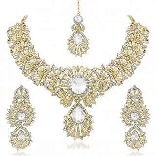 Vidhi Jewels Golden Colour Zinc Casting Necklace Set for Women VNK137G