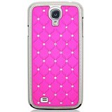 SAMSUNG GALAXY S4 I9500 Crystal Lattice Bling Hard Back Case Cover PINK Color