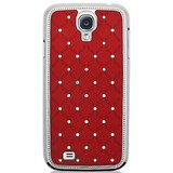 SAMSUNG GALAXY S4 I9500 Crystal Lattice Bling Hard Back Case Cover RED Color