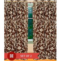 Set Of 2 Brown Floral Curtain In 399 /-  4 Ft * 7 Ft