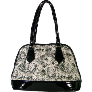 Saffron Craft Women's Black PU Leather-Handbag.