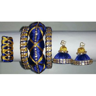 Blue And Golden Colour Silk Thread Bangles With Matching Jhumkas And Saree Pin