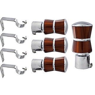 Dream Homz rich look strong Alloy metal curtain brackets set of 4 with supports