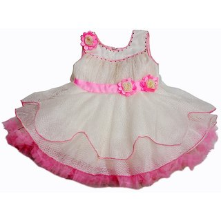 Jhankhi Frock Party Wear 3D Flower Pink