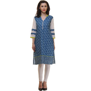 Ritzzy Women's Indigo Blue Printed Straight Cotton Designer Kurta