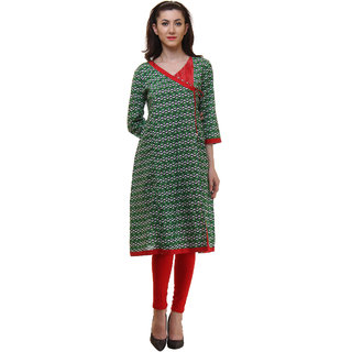 Ritzzy Women's Green and Red Achkan Style A-Line Cotton Kurta
