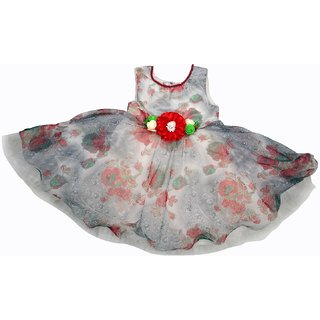 Jhankhi Frock Party Wear 3D Flower Red