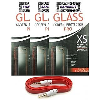 Samsung Galaxy J5 2016 Edition CURVED TEMPERED GLASS PACK OF 3 With AUX CABLE