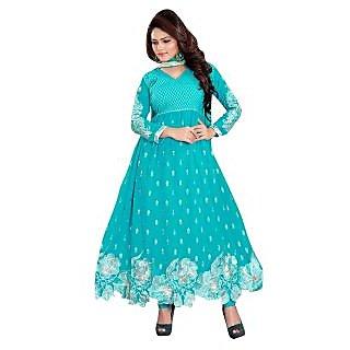 Trendz Apparels Light Blue 60 gm Georgette Anarkali Suit Salwar Suit