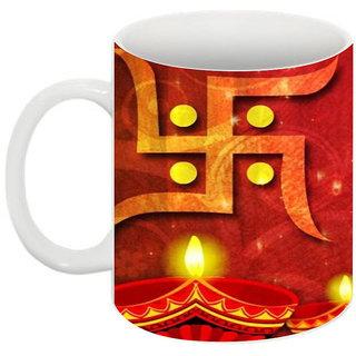 Abha Gaurav Creations Printed Diwali Mugs