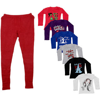 IndiWeaves Women 1 Warm Wollen Legging Legging with 6 Full Sleeves Cotton T-Shirt for Winters (Set of- 7)