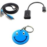 USB OTG Adapter PenDrive Cable+Smiley 5pin Noodle Micro USB Free Smiley KeyChain