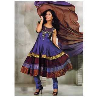FIA DARK PURPLE & BROWN CHANDERI COTTON CHURIDAR KAMEEZ WITH DUPPATTA -6937