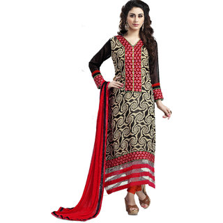 Trendz Apparels Black Beige 60 gm Georgette Straight Fit Salwar Suit