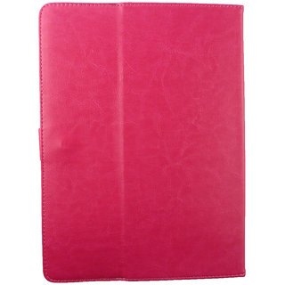 Emartbuy Voyo A6 10.1 Inch Tablet Hot Pink Plain Premium PU Leather Multi Angle Executive Folio Wallet Case Cover With Card Slots + Stylus