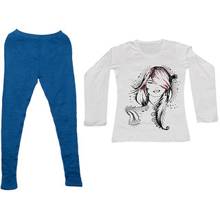 Indistar Women 1 Warm Wollen Legging Legging with 1 Full Sleeves Cotton T-Shirt for Winters (Set of- 2)
