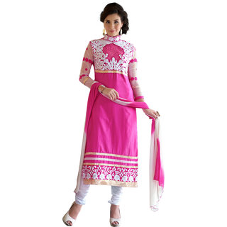 Trendz Apparels Pink Glass Cotton Straight Fit Salwar Suit