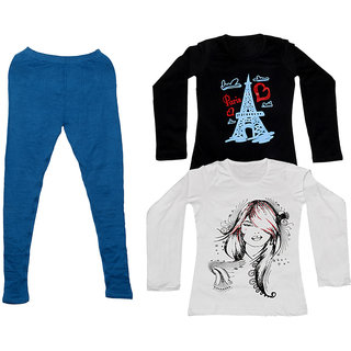 IndiWeaves Women 1 Warm Wollen Legging Legging with 2 Full Sleeves Cotton T-Shirt for Winters (Set of- 3)