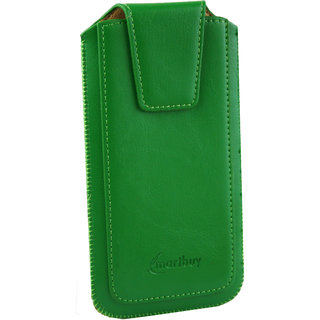 Emartbuy Sleek Range Green Luxury PU Leather Slide in Pouch Case Cover Sleeve Holder ( Size LM2 ) With Magnetic Flap  Pull Tab Mechanism Suitable For Mediacom PhonePad Duo S532L