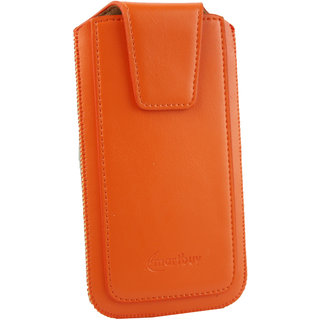 Emartbuy Sleek Range Orange Luxury PU Leather Slide in Pouch Case Cover Sleeve Holder ( Size LM2 ) With Magnetic Flap  Pull Tab Mechanism Suitable For Mediacom PhonePad Duo S532L